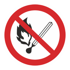 Знак P-02«Запрещается пользоваться открытым огнем»_07302