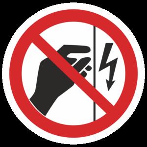 Знак P-09«Запрещается прикасаться. Корпус под напряжением»_07309