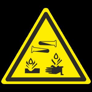 Знак W-04 «Опасно. Едкие и коррозионные вещества»_07004