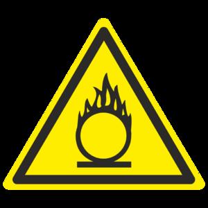 Знак W-11 «Пожароопасно. Окислитель»_07011